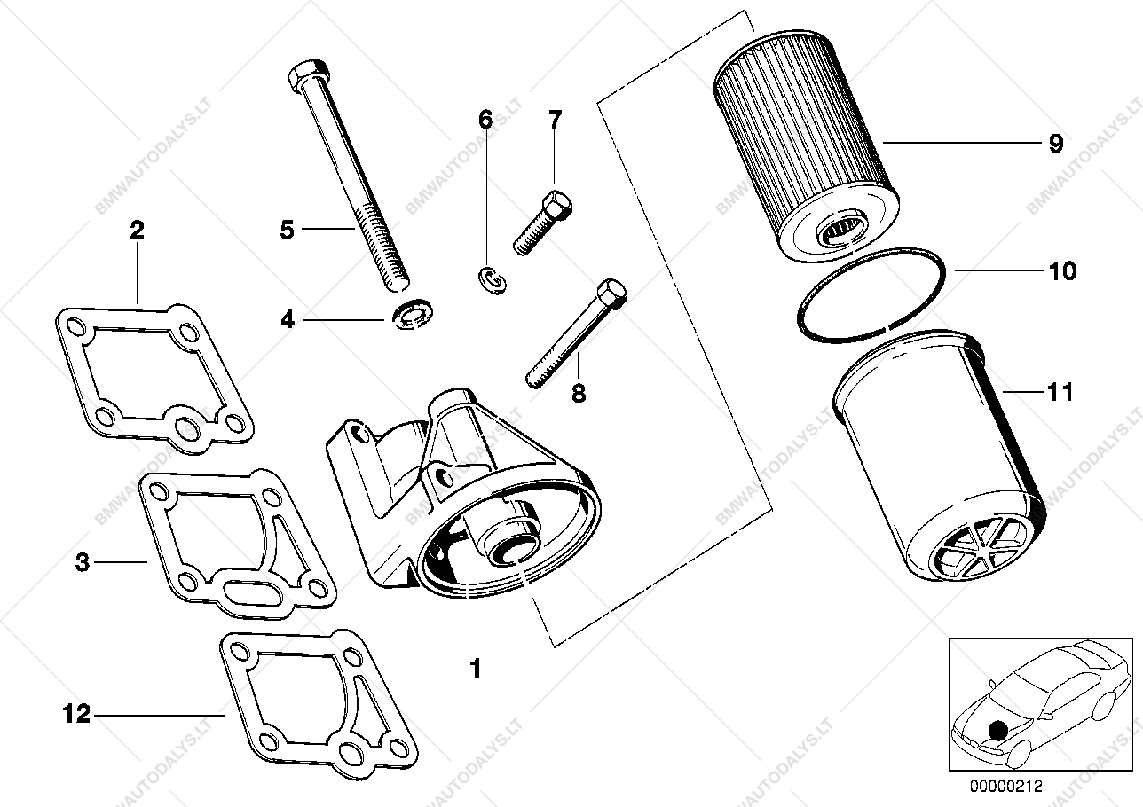 Lubrication System Oil Filter For Bmw 6 E24 635csi Coupe Usa Engine Diagram Parts List Is