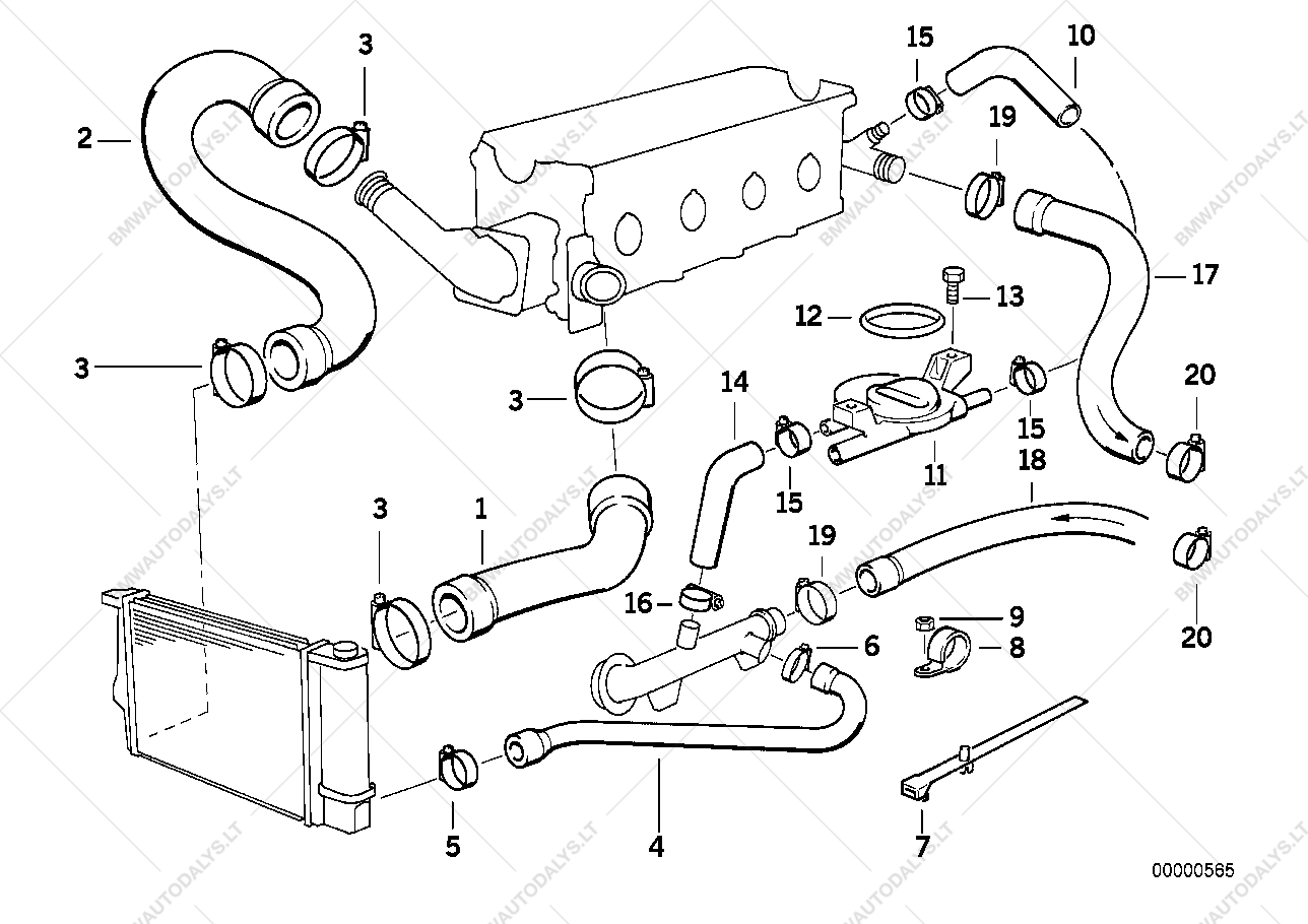 1991 Bmw 318i Cooling System Diagram Bmw Auto Parts