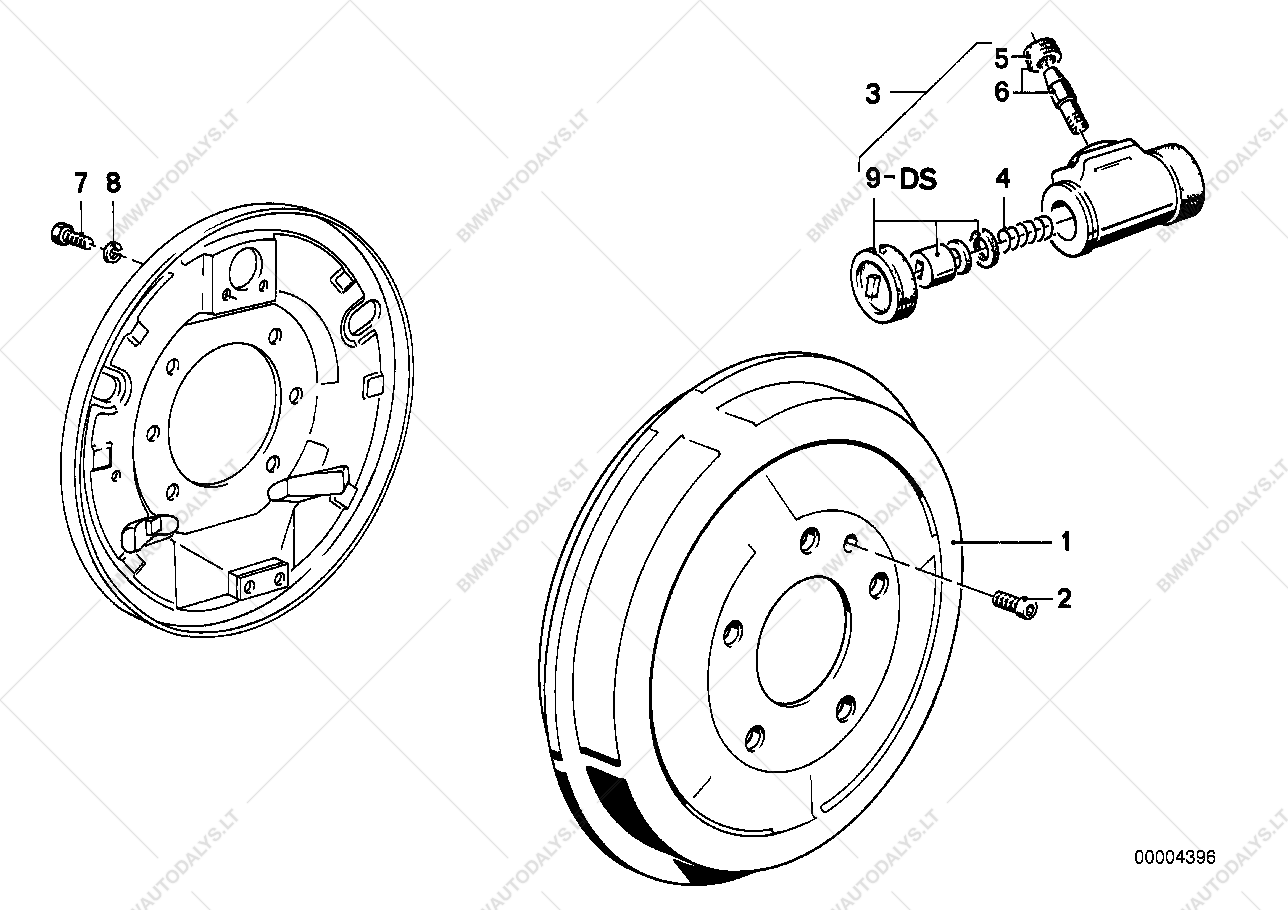 Drum brake-brake drum/wheel brake cyl  for BMW 3' E36, 316i