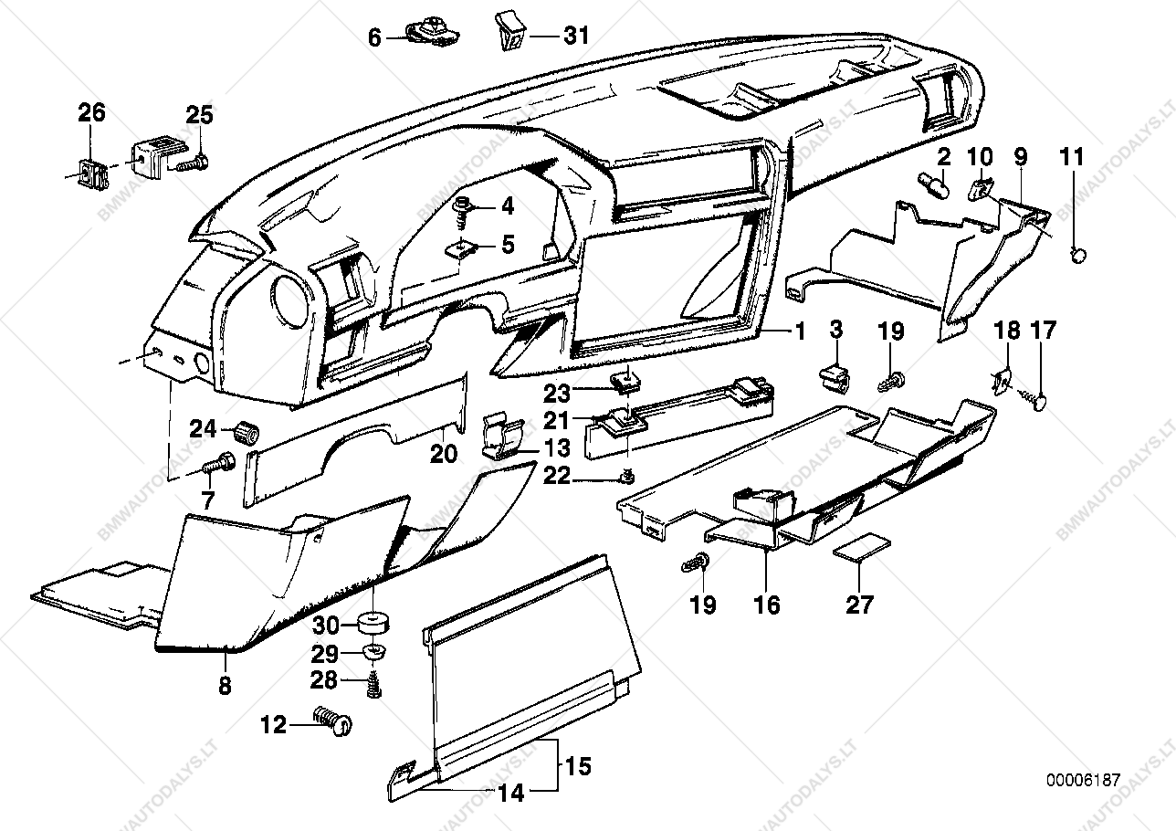 parts list is for bmw 3' e30, 320i convertible (ece)