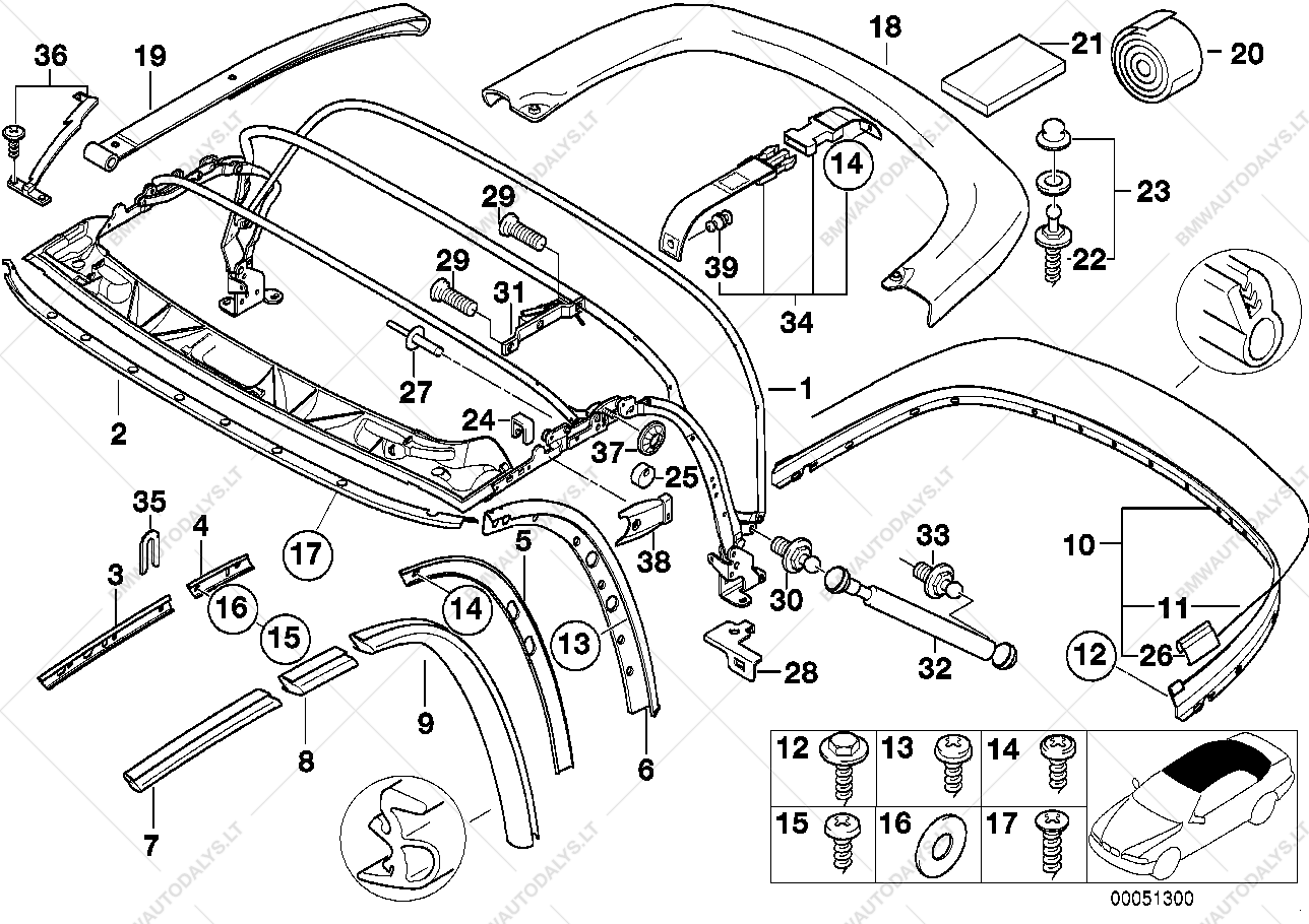 folding top mounting parts for bmw z3 e36 z3 1 9 m44 roadster ece rh  bmwautodalys lt bmw z3 front bumper parts diagram 2001 bmw z3 parts diagram
