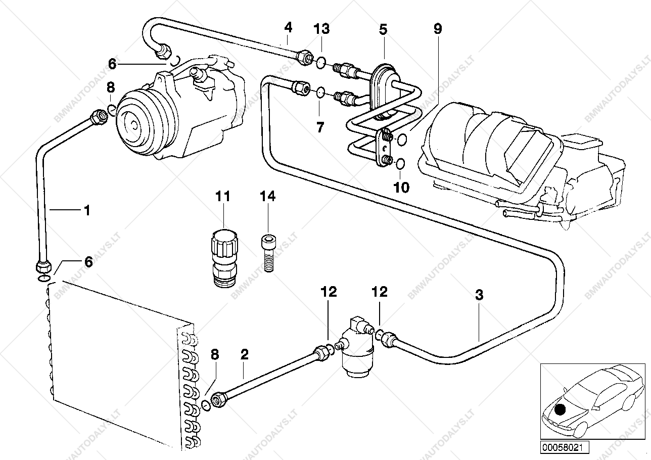 parts list is for bmw 3' e36, m3 coupe (usa)