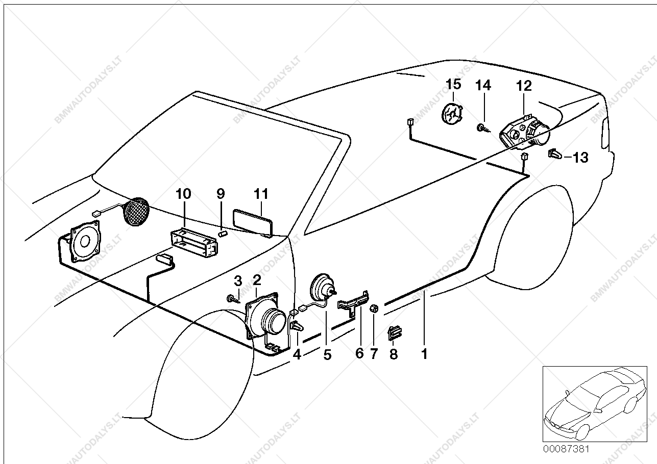 Single components stereo system for BMW 3' E36, 325i