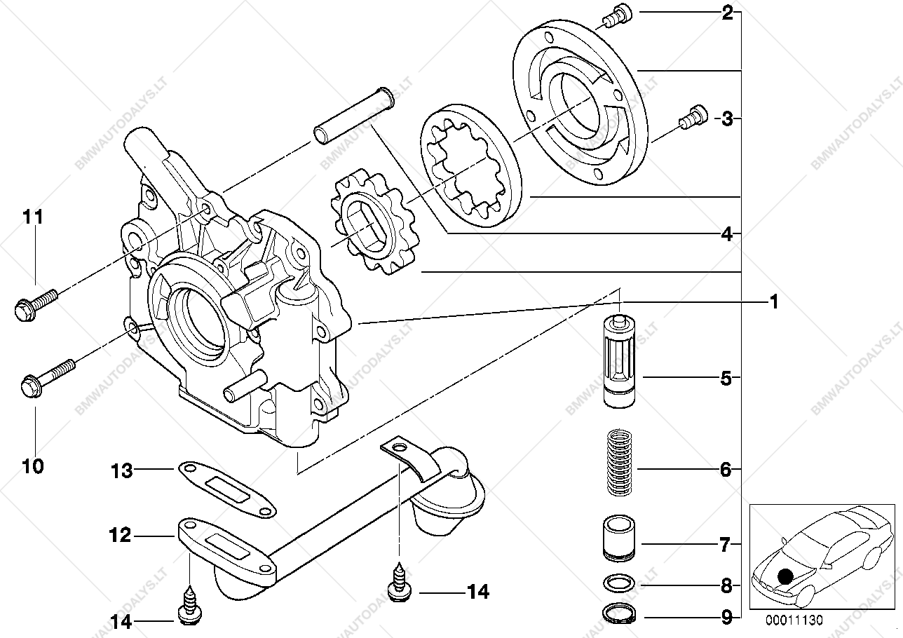 Lubrication system/Oil pump for BMW 3' E46, 320d M47 Touring (ECE