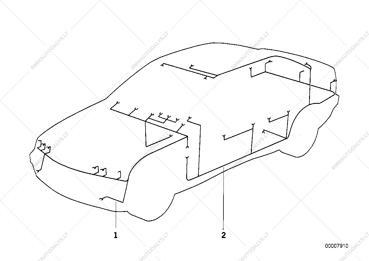 Wiring Harness Front Section For Bmw 3 E36 318is M44 Coupe Ece Mirror Diagram 1999 03