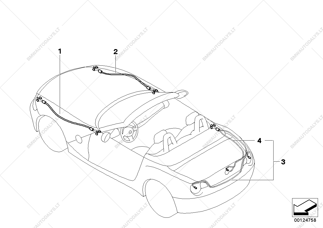 repair cable main cable harness for bmw z4 e85 z4 3 0i n52 roadster BMW Electrical Diagrams parts list is for bmw z4 e85 z4 3 0i n52 roadster usa