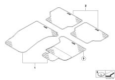 Kit rubber floor mats rear