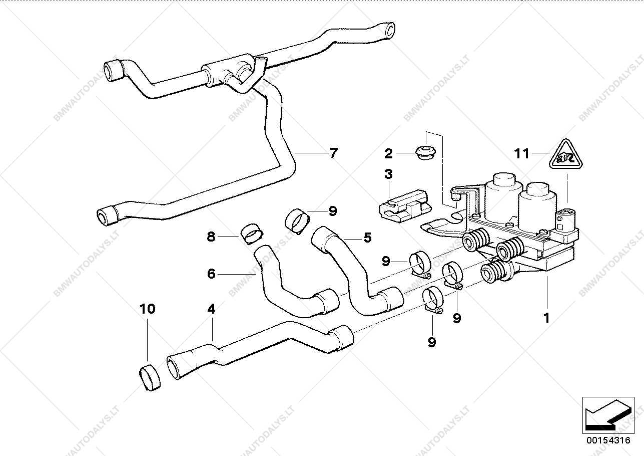 Water Valve Hose For Bmw 3 E36 318is M44 Coupe Ece 1995 Engine Diagram Parts List Is 07