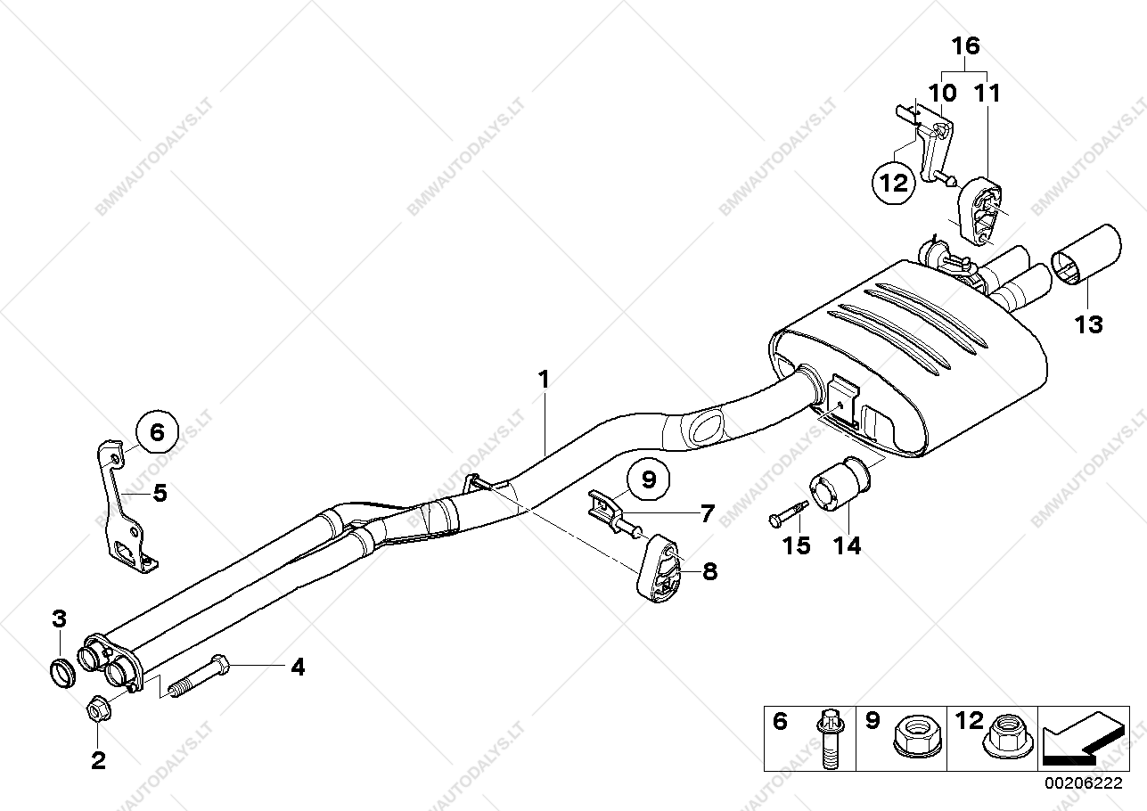Exhaust system, rear for BMW 5' E61, 535d Touring (ECE