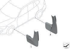 Set mud flaps, rear