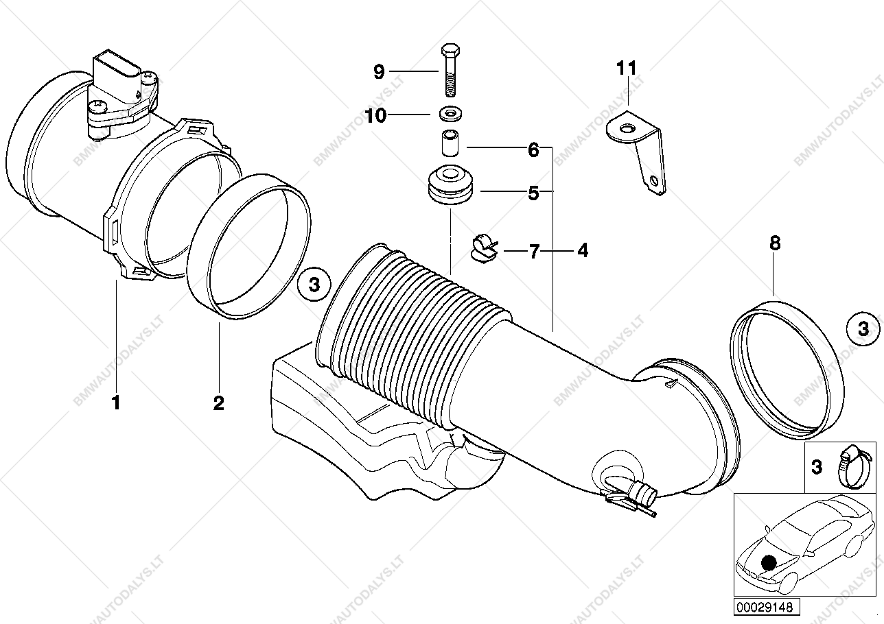 Bmw M62 Engine Diagram Php I Bay Wiring Hot Film Air Mass Meter For E M Sedan Ece Parts List Is 7