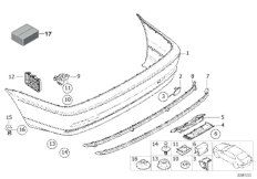 Set of mounted parts, bumper,