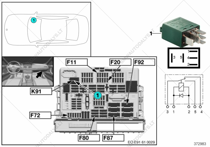 Relay For Rear Wiper K91 For Bmw 3 E91 Lci 318i N46n