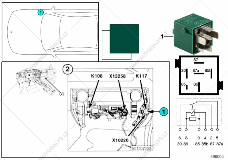 relay for trunk lock k117 for bmw 3' e36, m3 3 2 convertible (usa 4 pin relay diagram relay for trunk lock k117 for bmw 3' e36, m3 3 2 convertible (usa)