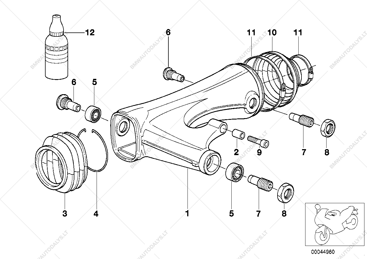 Rear Wheel Swinging Arm For Bmw R22 R 850 Rt 1150 Rs R1150rt Engine Diagram Parts List Is 00 04190499 Usa