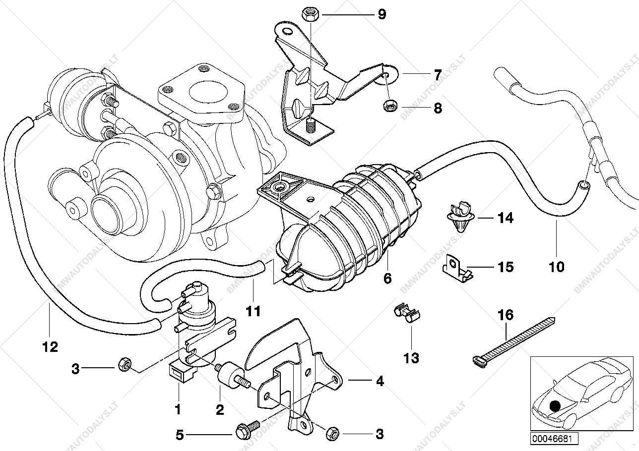 Vacum control-engine-turbo charger for BMW 3' E46, 320d M47 Touring
