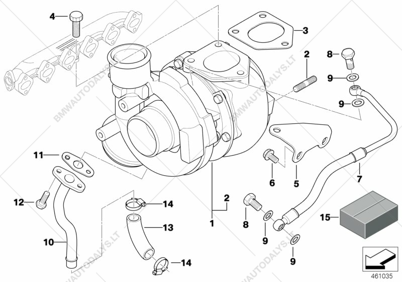 turbo charger with lubrication for bmw 5 u0026 39  e39  530d sedan