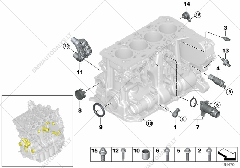 Engine Block Mounting Parts for BMW MINI F56, Cooper S B46 3