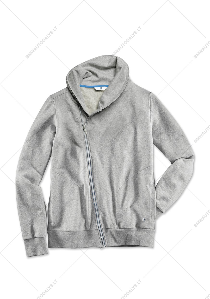 3b65c45a120 This men's sweat jacket has a high collar, asymmetric zip and two slant  pockets. Contrasting seams in Electric Blue. Fabric: organic cotton.
